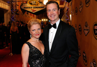 LAS VEGAS, NV - DECEMBER 02:  Driver Kurt Busch (R) and his girlfriend Patricia Driscoll attend the NASCAR Sprint Cup Series Champion's Week Awards Ceremony at Wynn Las Vegas on December 2, 2011 in Las Vegas, Nevada.  (Photo by Ethan Miller/Getty Images)