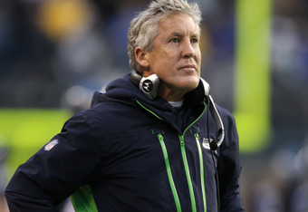 SEATTLE, WA - NOVEMBER 27:  Head coach Pete Carroll of the Seattle Seahawks looks on from the sidelines against the Washington Redskins at CenturyLink Field on November 27, 2011 in Seattle, Washington. (Photo by Otto Greule Jr/Getty Images)