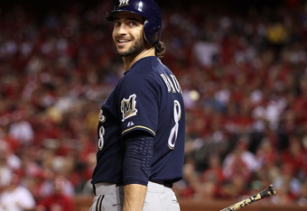 ST LOUIS, MO - OCTOBER 13:  Ryan Braun  #8 of the Milwaukee Brewers during Game Four of the National League Championship Series against the St. Louis Cardinals at Busch Stadium on October 13, 2011 in St Louis, Missouri. The Milwaukee Brewers defeated the