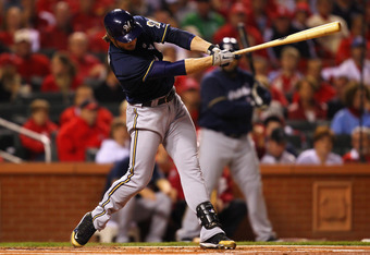 ST LOUIS, MO - OCTOBER 14:  Ryan Braun #8 of the Milwaukee Brewers hits a double in the top of the first inning against the St. Louis Cardinals during Game Five of the National League Championship Series at Busch Stadium on October 14, 2011 in St Louis, M