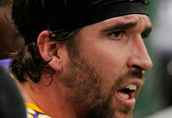 MINNEAPOLIS, MN - NOVEMBER 20: Jared Allen #69 of the Minnesota Vikings looks on during the game against the Oakland Raiders on November 20, 2011 at Hubert H. Humphrey Metrodome in Minneapolis, Minnesota. (Photo by Hannah Foslien/Getty Images)