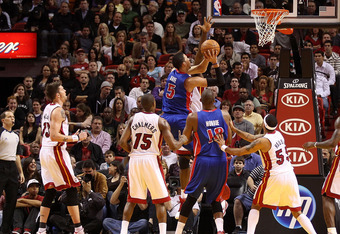 MIAMI, FL - JANUARY 28:  Austin Daye #5 of of the Detroit Pistons makes a lay up during a game against the Miami Heat at American Airlines Arena on January 28, 2011 in Miami, Florida. NOTE TO USER: User expressly acknowledges and agrees that, by downloadi