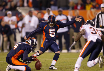 DENVER, CO - DECEMBER 11:  Place kicker Matt Prater #5 of the Denver Broncos hits a 59-yard field goal late in the fourth quarter to tie the game against the Chicago Bears at Sports Authority Field at Mile High on December 11, 2011 in Denver, Colorado. (P