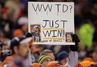 DENVER, CO - DECEMBER 11:  A fan displays a sign in support of quarterback Tim Tebow #15 of the Denver Broncos as they face the Chicago Bears at Sports Authority Field at Mile High on December 11, 2011 in Denver, Colorado. The Broncos defeated the Bears 1