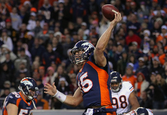 DENVER, CO - DECEMBER 11:  Quarterback Tim Tebow #15 of the Denver Broncos completes a pass to Demaryius Thomas #88 of the Denver Broncos from his own endzone against the Chicago Bears at Sports Authority Field at Mile High on December 11, 2011 in Denver,