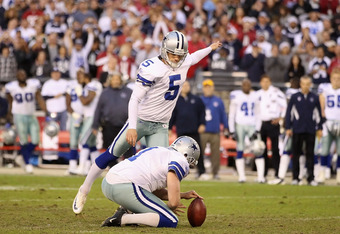 GLENDALE, AZ - DECEMBER 04:  Kicker Dan Bailey #5 of the Dallas Cowboys attempts a field goal against the Arizona Cardinals during the NFL game at the University of Phoenix Stadium on December 4, 2011 in Glendale, Arizona. The Cardinals defeated the Cowbo
