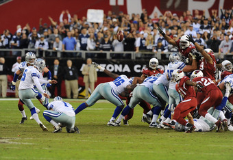 GLENDALE, AZ - DECEMBER 04:  Kicker Dan Bailey #5 of the Dallas Cowboys misses an overtime field goal against the Arizona Cardinals at University of Phoenix Stadium on December 4, 2011 in Glendale, Arizona. Arizona won 19-13. (Photo by Norm Hall/Getty Ima