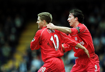 11 Mar 2001:  Michael Owen of Liverpool celebrates with Robbie Fowler after scoring Liverpool's second goal during the Tranmere Rovers v Liverpool AXA FA Cup Sixth round match at Prenton Park, Tranmere. Mandatory Credit: Clive Brunskill/ALLSPORT