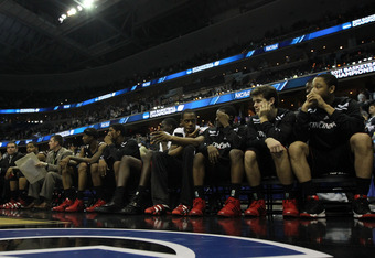 WASHINGTON - MARCH 19:  The Cincinnati Bearcats sit on the bench during their 69-58 loss to the Connecticut Huskies during the third round of the 2011 NCAA men's basketball tournament at Verizon Center on March 19, 2011 in Washington, DC.  (Photo by Nick