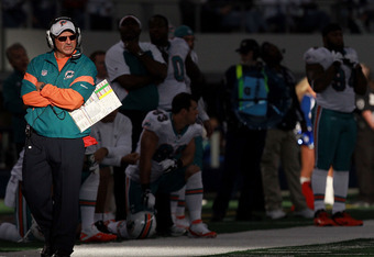 ARLINGTON, TX - NOVEMBER 24:  Head coach Tony Sparano of the Miami Dolphins during the Thanksgiving Day game at Cowboys Stadium on November 24, 2011 in Arlington, Texas.  (Photo by Ronald Martinez/Getty Images)