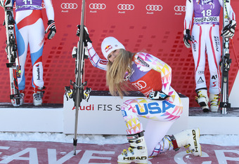 BEAVER CREEK, CO - DECEMBER 7:  (FRANCE OUT) Lindsey Vonn of the USA takes 1st place during the Audi FIS Alpine Ski World Cup WomensSuperG on December 7, 2011 in Beaver Creek, USA. (Photo by Francis Bompard/Agence Zoom/Getty Images)