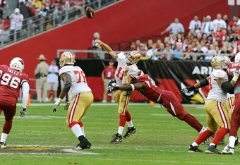 49ers quarterback completed only 18 of 37 passing attempts and was sacked a total of five times during Sunday's loss to the Cardinals.