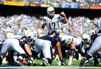 SAN DIEGO - SEPTEMBER 20:  Philip Rivers #17 of the San Diego Chargers starts the play against the Baltimore Ravens at Qualcomm Stadium on September 20, 2009 in San Diego, California.  (Photo by Jacob de Golish/Getty Images)