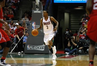MILWAUKEE, WI - APRIL 24: Brandon Jennings #3 of the Milwaukee Bucks dribbles the basketball against the Atlanta Hawks during Game Three of Eastern Conference Quarterfinals of the 2010 NBA Playoffs at the Bradley Center on April 24, 2010 in Milwaukee, Wis