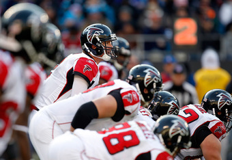 CHARLOTTE, NC - DECEMBER 11:  Matt Ryan #2 of the Atlanta Falcons calls out to his teammates against the Carolina Panthers during their game at Bank of America Stadium on December 11, 2011 in Charlotte, North Carolina.  (Photo by Streeter Lecka/Getty Imag