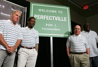 PHOENIX - FEBRUARY 01:  Former Miami Dolphins (L-R) Jim Kiick, Eugene 'Mercury' Morris, Garo Yepremian, and Larry Little answer questions attend a press conference anouncing Reebok's new television campaign -dubbed 'Perfectville'- featuring members of the