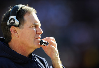 LANDOVER, MD - DECEMBER 11:  Head coach Bill Belichick of the New England Patriots watches play between the New England Patriots and Washington Redskins at FedExField on December 11, 2011 in Landover, Maryland.  (Photo by Patrick McDermott/Getty Images)