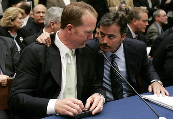 Mark McGwire and Rafael Palmeiro testifying before Congress in 2007.