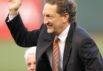 SAN FRANCISCO, CA - MAY 06:  San Francisco Giants team president Larry Baer waves to the crowd during a ceremony for Willie Mays' 80 birthday before the San Francisco Giants game against the Colorado Rockies at AT&T Park on May 6, 2011 in San Francisco, C