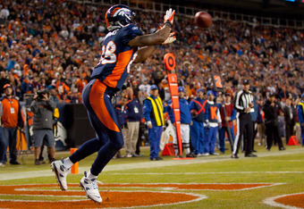 DENVER, CO - DECEMBER 11:  Wide receiver Demaryius Thomas #88 of the Denver Broncos catches a touchdown pass in the fourth quarter against the Chicago Bears at Sports Authority Field at Mile High on December 11, 2011 in Denver, Colorado. The Broncos defea