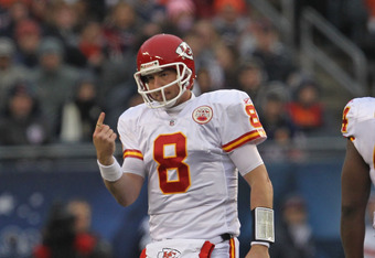 CHICAGO, IL - DECEMBER 04: Kyle Orton #8 of the Kansas City Chiefs holds up his injured finger after playing one play against the Chicago Bears at Soldier Field on December 4, 2011 in Chicago, Illinois. (Photo by Jonathan Daniel/Getty Images)
