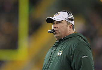 GREEN BAY, WI - DECEMBER 11:  Head coach Mike McCarthy of the Green Bay Packers watches as his team takes on the Oakland Raiders at Lambeau Field on December 11, 2011 in Green Bay, Wisconsin. The Packers defeated the Raiders 46-16.  (Photo by Jonathan Dan