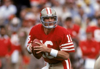 SAN FRANCISCO - DECEMBER 8:  Quarterback Joe Montana #16 of the San Francisco 49ers drops back to pass during a game against the Minnesota Vikings at Candlestick Park on December 8, 1984 in San Francisco, California.  The 49ers won 51-7.  (Photo by George