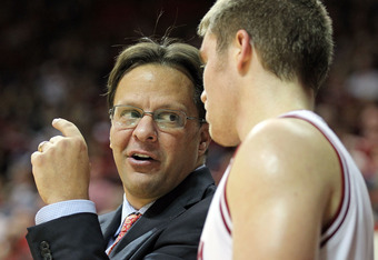 BLOOMINGTON, IN - DECEMBER 04:  Tom Crean the head coach of the Indiana Hoosiers gives instructions to Jordan Hulls #1 during the game against the Stetson Hatters at Assembly Hall on December 4, 2011 in Bloomington, Indiana.  Indiana won 84-50.  (Photo by