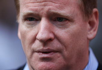 LONDON, ENGLAND - OCTOBER 23:  NFL Commissioner Roger Goodell looks on prior to the NFL International Series match between Chicago Bears and Tampa Bay Buccaneers at Wembley Stadium on October 23, 2011 in London, England. This is the fifth occasion where a