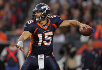 DENVER, CO - DECEMBER 11:  Quarterback Tim Tebow #15 of the Denver Broncos delivers a pass against the Chicago Bears at Sports Authority Field at Mile High on December 11, 2011 in Denver, Colorado. The Broncos defeated the Bears 13-10 in overtime.  (Photo
