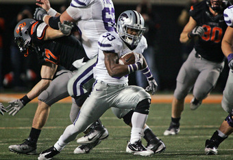 STILLWATER, OK - NOVEMBER 5:  Running back John Hubert of the Kansas State Wildcats runs upfield during the second half against the Oklahoma State Cowboys on November 5, 2011 at Boone Pickens Stadium in Stillwater, Oklahoma.  Oklahoma State defeated Kansa