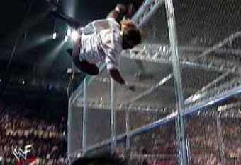 Mankind being thrown off the top of the Hell in a Cell at the 1998 King of the Ring.