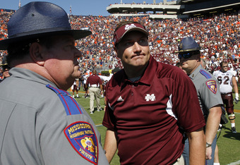 AUBURN, AL - SEPTEMBER 10:  Coach Dan Mullen of the Mississippi State Bulldogs reacts to the replay of the final play where the Auburn Tigers stopped quarterback Chris Relf #14 of the Mississippi State Bulldogs at the goal line in the fourth quarter on Se