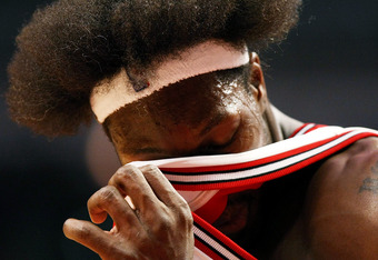 CHICAGO - DECEMBER 28:  Ben Wallace #3 of the Chicago Bulls wipes sweat off of his face during a game against the Milwaukee Bucks on December 28, 2007 at the United Center in Chicago, Illinois. The Bulls defeated the Bucks 103-99. NOTE TO USER: User expre