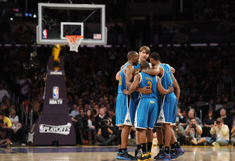LOS ANGELES, CA - APRIL 26:  The New Orleans Hornets huddle in the third quarter while taking on the Los Angeles Lakers in Game Five of the Western Conference Quarterfinals in the 2011 NBA Playoffs on April 26, 2011 at Staples Center in Los Angeles, Calif
