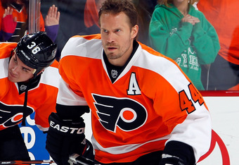 PHILADELPHIA, PA - NOVEMBER 25:  Kimmo Timonen #44 of the Philadelphia Flyers skates during warmups before an NHL hockey game against the Montreal Canadiens at Wells Fargo Center on November 25, 2011 in Philadelphia, Pennsylvania.  (Photo by Paul Bereswil