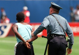 Fans who invade the playing area are subject to arrest because the stadium itself does not give fans consent to intrude upon the field, pitch or court.