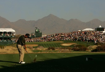 SCOTTSDALE, AZ - FEBRUARY 3:  Jeff Quinney hits his tee shot on the sixteenth hole during the third round of the FBR Open on February 3, 2007 at TPC Scottsdale in Scottsdale, Arizona. Quinney finished the day at 16 under par and a two stroke lead.  (Photo