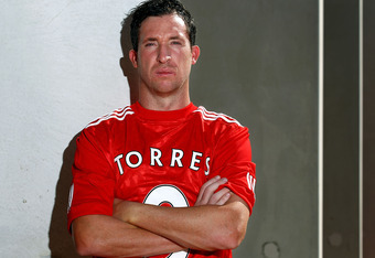 PERTH, AUSTRALIA - FEBRUARY 04:  Robbie Fowler of the Perth Glory A-League club poses in a Liverpool shirt with 'Torres' on the back at AK Reserve on February 4, 2011 in Perth, Australia. Western Australian personalities are being encouraged to wear  'The