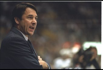 16 Nov 1995:  New York Islanders general manager Mike Milbury looks on during a game against the Los Angeles Kings at the Great Western Forum in Inglewood, California.  The Kings won the game, 9-2. Mandatory Credit: Glenn Cratty  /Allsport