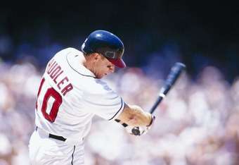 ANAHEIM, CA - JUNE 29:  Rex Hudler of the California Angels at bat against the Oakland Athletics during their game at Anaheim Stadium on June 29, 1996 in Anaheim, California.  (Photo by:  J.D. Cuban/Getty Images)