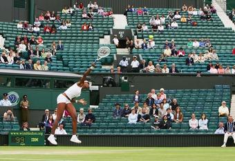 Women's Tennis: A sparse crowd watches as Venus Williams defeats Svetlana Kuznetsova on Day 10 of Wimbledon, 2007.