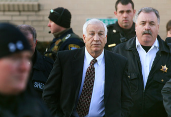 BELLEFONTE, PA - DECEMBER 13:  Former Penn State assistant football coach Jerry Sandusky leaves the Centre County Courthouse, on December 13, 2011 in Bellefonte, Pennsylvania. Sandusky, who was charged with sexual abuse involving 10 boys he met through th