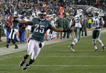 The Eagles' LeSean McCoy torched the Jets' defense by scoring three touchdowns