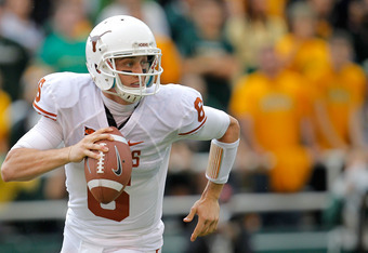 WACO, TX - DECEMBER 03: Case McCoy #6 of the Texas Longhorns runs during a game against the Baylor Bears at Floyd Casey Stadium on December 3, 2011 in Waco, Texas.  (Photo by Sarah Glenn/Getty Images)