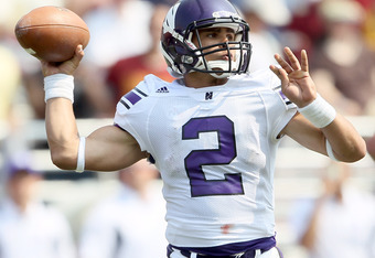 CHESTNUT HILL, MA - SEPTEMBER 03:  Kain Colter #2 of the Northwestern Wildcats looks to pass against the Boston College Eagles on September 3, 2011 at Alumni Stadium in Chestnut Hill, Massachusetts.The Northwestern Wildcats defeated the Boston College Eag