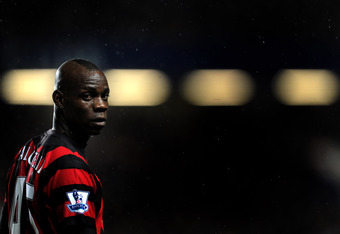 LONDON, ENGLAND - DECEMBER 12:  Mario Balotelli of Manchester City looks on during the Barclays Premier League match between Chelsea and Manchester City at Stamford Bridge on December 12, 2011 in London, England.  (Photo by Michael Regan/Getty Images)