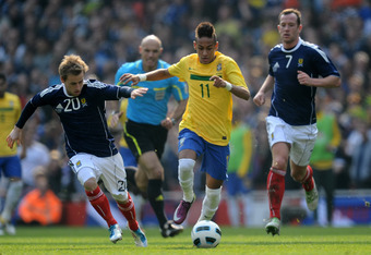 Neymar scored two goals in an impressive performance against Scotland in March.