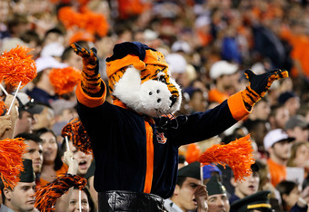 AUBURN, AL - NOVEMBER 26:  Aubbie, mascot of the Auburn Tigers, cheers against the Alabama Crimson Tide at Jordan-Hare Stadium on November 26, 2011 in Auburn, Alabama.  (Photo by Kevin C. Cox/Getty Images)