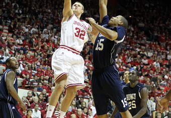 BLOOMINGTON, IN - DECEMBER 19: Derek Elston #32 of the Indiana Hoosiers shoots the ball while defended by Brandon Bailey #15 of the Howard Bison during the game at Assembly Hall on December 19, 2011 in Bloomington, Indiana.  Indiana won 107-50.  (Photo by